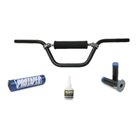 DHZ Aluminium Handlebar, Pillow Top Light Grips, Bar Pad Combo (Blue)