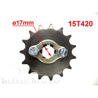 15T Sprocket #420,  17mm Shaft