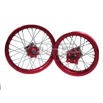 "Red Rim Red Hub 14"" Front 12"" Rear Wheel Set"
