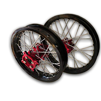 "Black Rim Red Hub 14"" Front 12"" Rear Wheel Set"