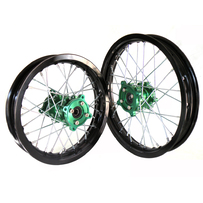 "Black Rim Green Hub 14"" Front 12"" Rear Wheel Set"