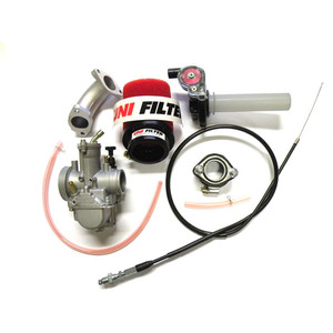 OKO PWK 26MM Flat Slide Carburettor Kit, 1/8 Turn Joker Style Throttle, UniFilter, 140cc 150cc 160cc
