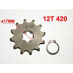 12T Sprocket #420,  17mm Shaft